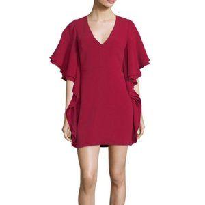 NWT Halston Heritage Draped-Sleeve Maroon Dress